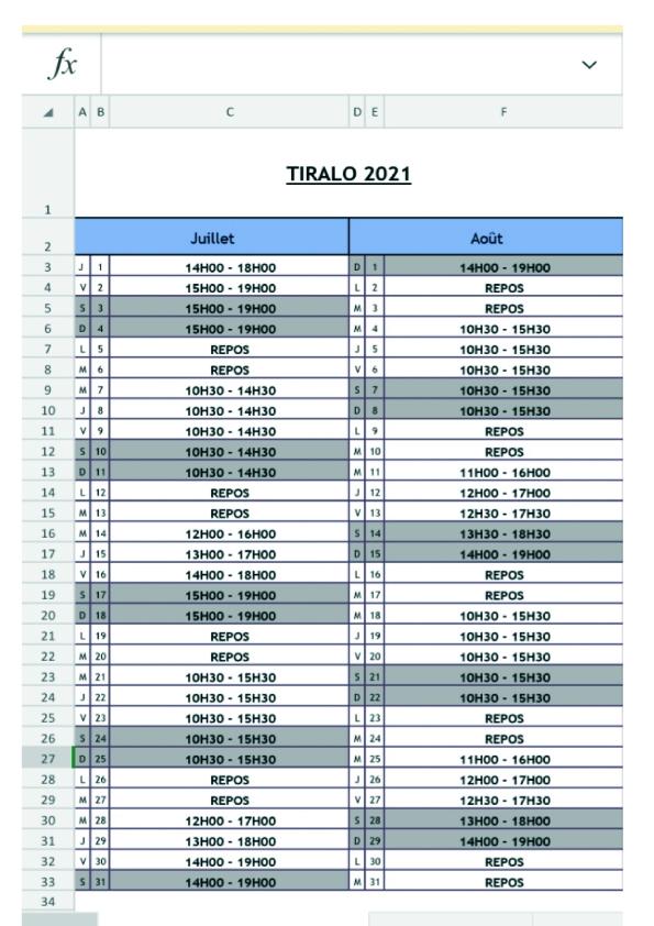 calendrier & horaire handiplagiste