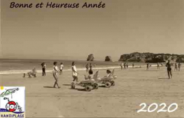 Carte postal Ramon et Brigitte, plage d'Hendaye
